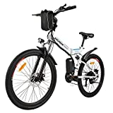 ANCHEER Folding Electric Mountain Bike, 26'' Electric Bike with 36V 8Ah Lithium-Ion Battery, Premium Full Suspension and 21 Speed Gears