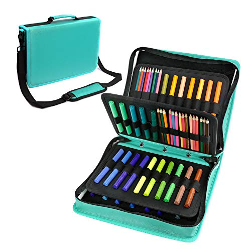 YOUSHARES Colored Pencil & Gel Pen Case in Large Flexible Slot - PU Leather Colored Pencil Case with Zipper Holds 180 Colored Pencils or 140 Gel Pens - for Watercolor Pencils, Gel Pens?Green?