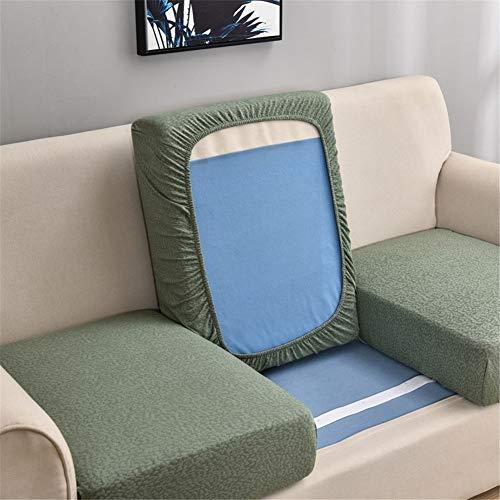 Fundas de cojín de asiento de sofá, impermeables, fundas de cojín de repuesto, fundas de cojín gruesas elásticas para cojines individuales (verde, grande de 2 plazas)