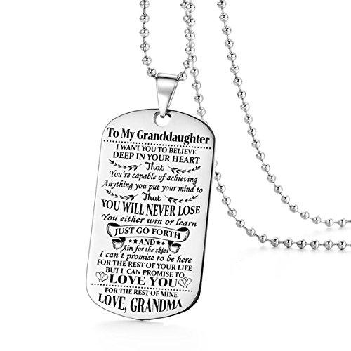 Stashix to my Granddaughter i want you to Believe Love Grandma Dog tag Necklace Birthday Gift Jewelry graduazione militare personalizzata