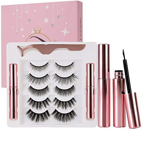 Magnetic Eyeliner and Lashes Kit, AISONBOO 5 Pairs Reusable Magnetic Lashes 3D Natural Look False Lashes with Applicator, Magnetic Eyeliner and Magnetic Eyelash Kit - No Glue Needed