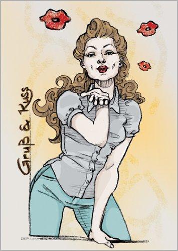 Johanna in 5-delige set: groet en kus komen met deze verjaardagskaart/wenskaart zeker goed aan