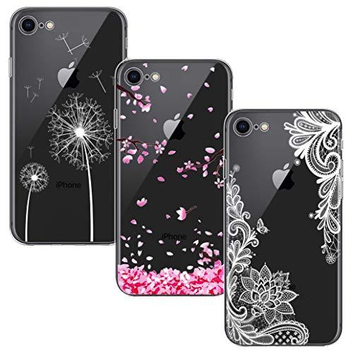 Yoowei [3-Pack] Cover Compatibile con iPhone SE 2020 e iPhone 8 e iPhone 7 Trasparente Morbida TPU Silicone Ultra Sottile Protezione a 360 Gradi Custodia, Fiori Bianco Fiore di Ciliegio Tarassaco