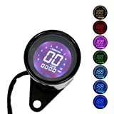 WonVon 12V Universal Digital Motorbike Speedometer Tachometer Oil Level Meter LCD Gauge Tachometer Motorcycle Accessories Instruments Display Motorcycle Modification Refit Kit (Black Shell)