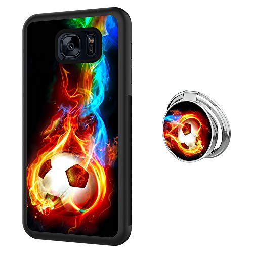 ZacharyMarcus Designed Flame Soccer Samsung Galaxy S7 Case with Buckle Ring 360° Rotatable Silvery Durable Ring Buckle, TPU Black Antiskid Tread Phone Case for Samsung Galaxy S7