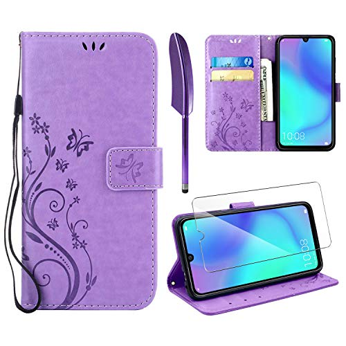 AROYI Lederhülle Kompatibel mit Huawei P30 Lite Hülle & Schutzfolie, Flip Wallet Handyhülle PU Leder Tasche Hülle Kartensteckplätzen Schutzhülle Kompatibel mit Huawei P30 Lite Hellviolett