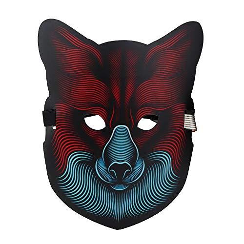 Duokon Maskers voor volwassenen LED Light Glow Halloween Party Maskers spraakbesturing klankmasker voor muziekfestival Cold Mask Glowing Mask Gift