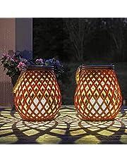 Gadgy Solar Tuinverlichting op Zonne-energie | Set van 2 | Rotan Uitstraling | Led Lantaarn met Dag/Nacht Sensor | Tafellamp voor Buiten