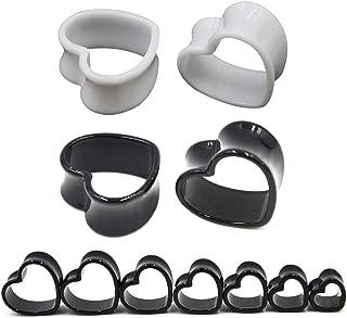 4 mm-22 mm Pair Black & White Love Heart Acrylic Flesh Tunnel Plug Jewelry Body Piercing Stretcher Expander Ear Gauge Earlets
