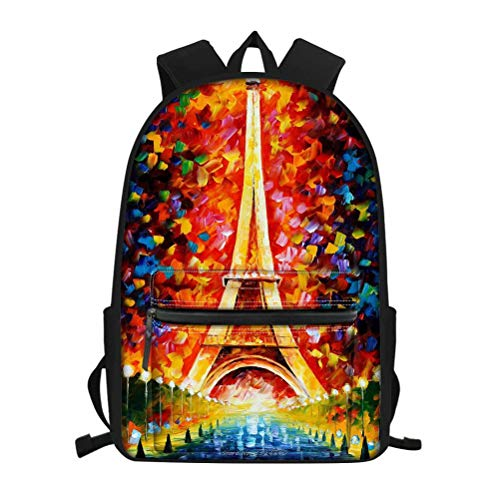 NDISTIN Colorful Oil Painting Iron Tower Pattern Backpack Romantic Women Travel Fashion Shoulder Bag Kids School Bag Rucksack for Teen Waterproof Lightweight Bookbag Breathable Casual Lady Best Gift
