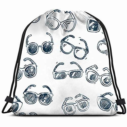Différents types de lunettes de soleil sans couture Motif à la main Textures Doodle Beauté Mode Sac à cordon léger Gym Sac à dos pour la randonnée, le yoga, la natation Voyage à la plage
