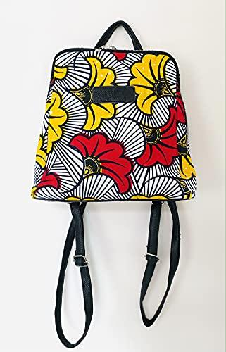 Sac à dos Femme Wax tissu Africain Pagne fleursde mariage rouge et jaune idée cadeau femme