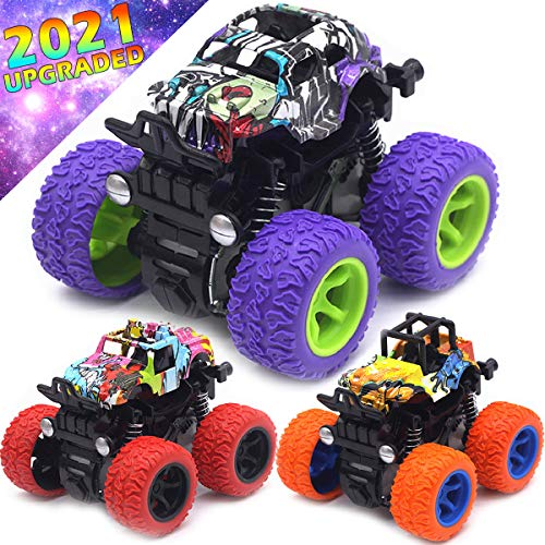 Monster Trucks Toys for Boys - Friction Powered 3-Pack Mini Push and Go Car Truck Jam Playset for Boys Girls Toddler Aged 2 3 4 5 Year Old Gifts for Kids Birthday (Purple, Red, Orange, 3-Packc)
