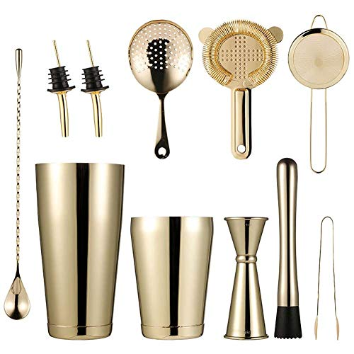 Cocktail 10-Piece Cocktail Making Set Cocktail Boston Shaker Kit with Large Shaker Cocktail Stainless Steel Bar Tool for Bartender Drink Mixer Kits Home Cocktail Maker Gift Set Kit ( Color : Gold )