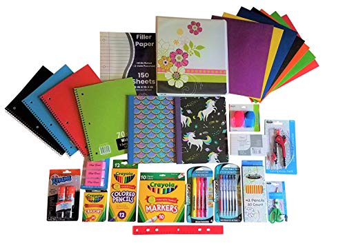 Over 50 Count School Supply Bundle For Elementary 3rd 4th 5th Grade Students By ALL DAY GIFTS-Binder,Pens,Pencils,Crayola Markers-Crayons,Folders,Note Books,Scissors,Erasers,Glue +More (Wide Ruled #2)