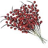 lulalula Ramo de flores artificiales falsas con diseño de bayas de hoyuelos artificiales, 10 unidades, 26 cm, color rojo