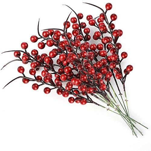 lulalula Künstliche Beeren Fake Mini Holly Berries Simulation Dekorative Früchte, Pflanzen Blumenstrauß Hochzeit Party Favor rot, 10Pcs, 26 cm