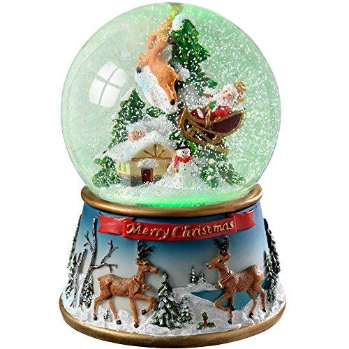 WeRChristmas, Palla di Vetro con la Neve, Babbo Natale e Slitta, Altezza 19,5cm, Luce Interna Multicolore