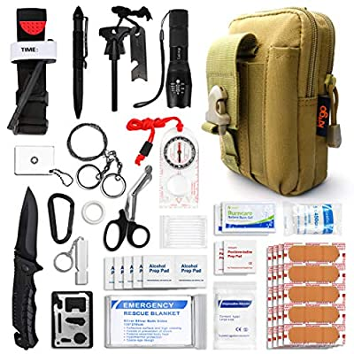 Kitgo Emergency Survival Gear and Medical First Aid Kit - IFAK Outdoor Adventure Camping Hiking Military Essential - Pro Compass, Fire Starter, Tourniquet, Flashlight and More (Khaki)