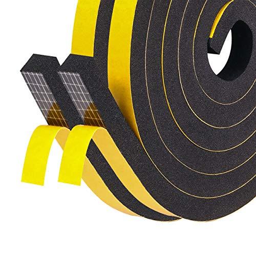 Türdichtungen Selbstklebend 12mm(B) x12mm(D) Schaumstoffband Fenster-Türdichtung kochheld, Moosgummi selbstklebend für Kollision Siegel Schalldämmung Gesamtlänge 4m (2 Rollen je 2m lang)