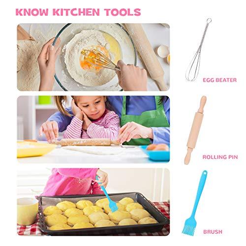 Tacobear 16 Stücke Koch-und Backset für Kinder Einhorn Schürze Kochmütze Outfit Kinderküche Rollenspielsets mit Schürze, Kochmütze, Utensilien für Mädchen und Jungen - 6
