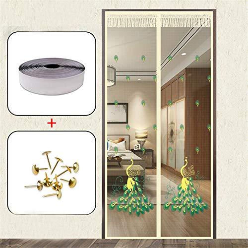 Vliegengaas, magnetisch, zwart, handsfree inrichting, vliegengaas voor deur, ramen, magnetisch, gordijn tegen insecten en robuust, magnetisch, voor slaapkamer en tuin 100*210cm Oranje