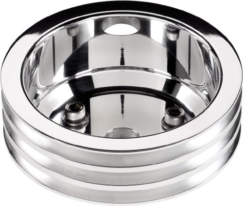 Billet Specialties 78230 Polished Long Water Pump 3 Groove Crankshaft Pulley for Small Block Chevy