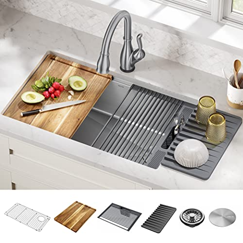 DELTA 95B932-32S-SS Lorelai Workstation Kitchen Sink Undermount Stainless Steel Single Bowl with WorkFlow Ledge and Chef's Kit of 6 Accessories