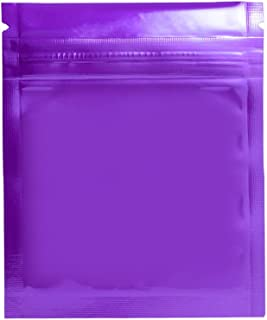 100x Durable Double-Sided Metallic Foil Mylar Flat Ziplock Bags Tear Notch Resealable Aluminum Zip Lock Pouch Heat Seal Food Package Bag Purple 3x2.6 Inches