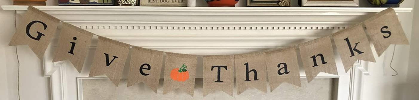Give Thanks Burlap Banner - Thanksgiving Day Holiday Home Decor - Decorative Ready to Hang Garland - Assembled with Orange Pumpkin Decoration by Jolly Jon ?