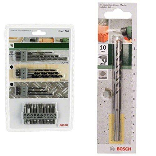 Bosch 2 609 256 989 - Juego variado Uneo (pack de 19) + 2 609 256 907 - B para hormigón SDS-Quick