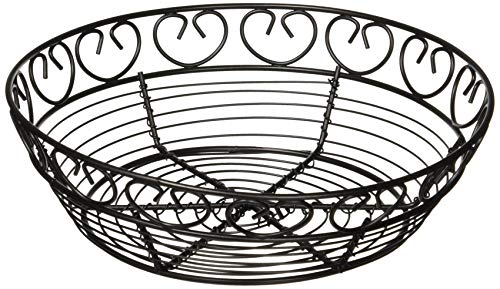 Winco WBKG-8R High Wire Fruit Basket, 8-Inch Round x 2.25-Inch, Black
