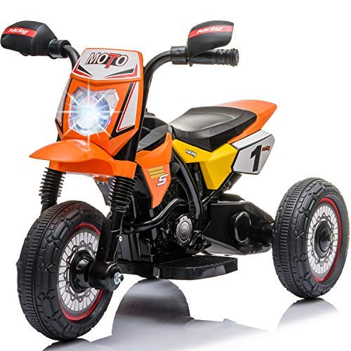 Little Brown Box Kids Dirt Bike 6V Ride On Motorcyle Vehicle Toy - Electric Three Wheels Quad - Battery Powered, Lights, Sound Kids Motorcycle for Toddler, Girls & Boys 1,2,3 Years Old -Orange