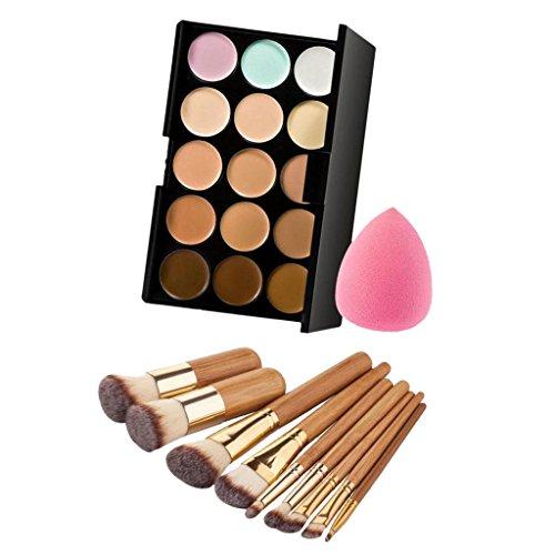 SM SunniMix 9pcs Bambou Poignée Maquillage Pinceau Ensemble + 15 Couleurs Palette Correcteur + Maquillage éponge Fondation Feuilletée