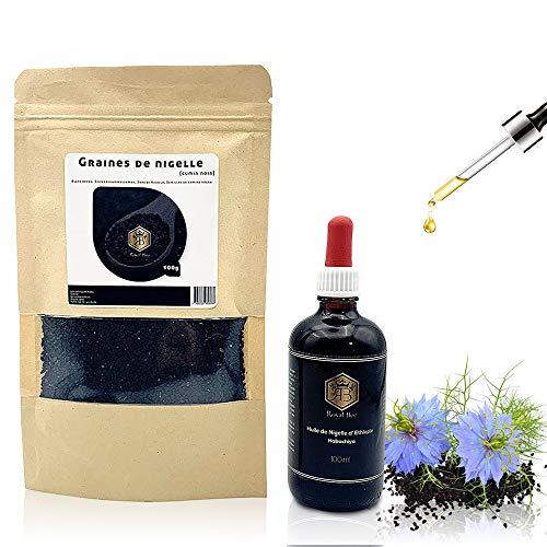 Huile de Nigelle Pure Ethiopie Habachiya 100ml + Graines de nigelle 100g - Ebook Offert - Pression à froid Non filtrée...