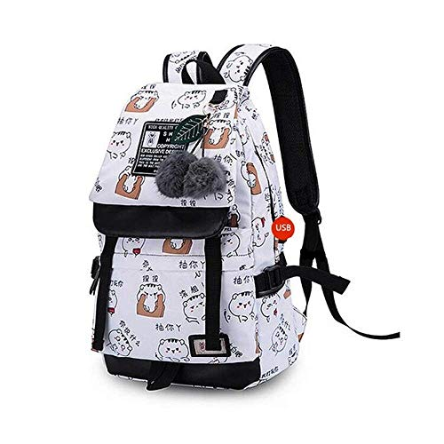 YIXIN School Backpack for Teenager Girl Waterproof Cute School Bag for Kids 15.6 Inch Laptop Rucksack Travel Dayback with USB Suitable for Colleges and Hiking (White)