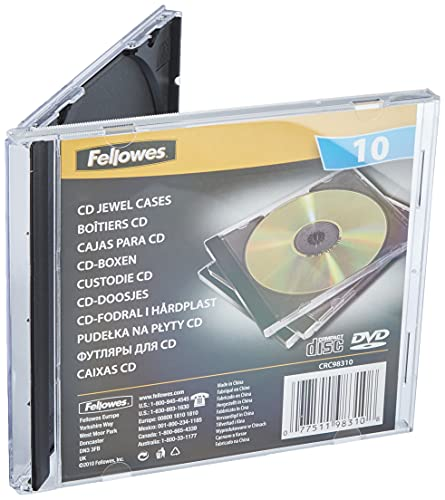 Fellowes 98310 Custodia per CD Jewel Case, Confezione da 10 Pezzi, Base Nera