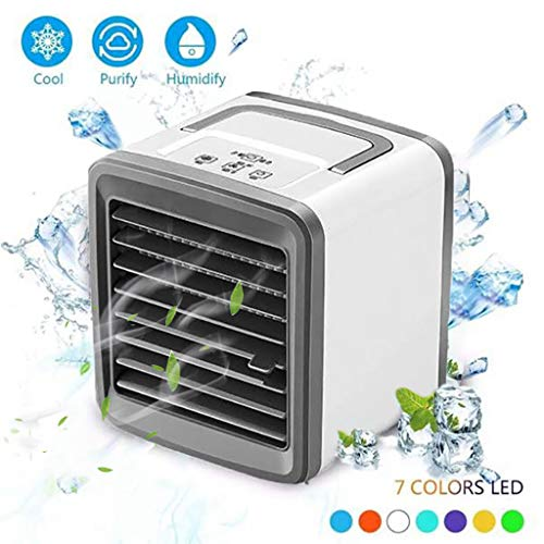 Air Conditioner Portable,Refrigeration Humidification and Air Purification LED Low Noise Desktop Air Cooler Window Ac Unit Fan USB Mini Air Conditioner EAZsyn8 (0511-3, White)