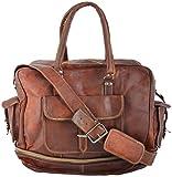 Rustic Leather Village Goat Vintagel Leather Travel Messenger Large Bag 211712 Inches Brown