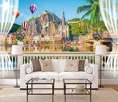 Murais personalizados papel de parede para sala de estar, quarto e TV plano de fundo, decoração de casa, ilha de ar quente, balão de cidade, selva, 200 cm x 140 cm