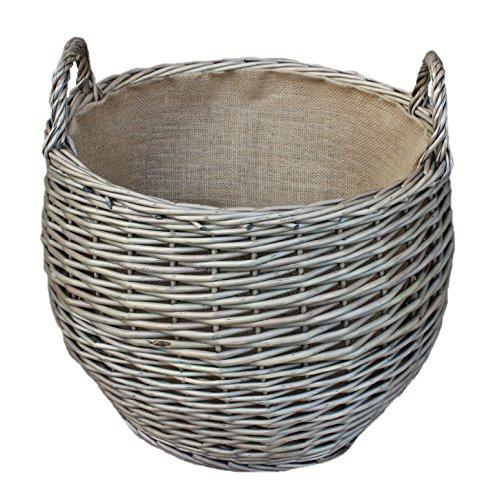 Wicker Stumpy Log Basket Holder Med Hessian Lined Carry Handles Antique Wash