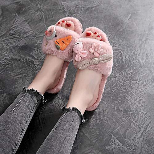 Vrouwen slippers, roze pluche cartoon konijn wortel lief ademend anti-slip herfst winter huisschoenen van katoen silent zacht, comfortabel slip-on broek warm houden