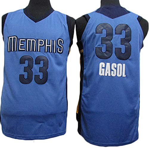 TPPHD Jerseys de Baloncesto de los Hombres, NBA Memphis Grizzlies # 33 Marc Gasol Classic Swingman Jersey, Tejido Fresco de la Vendimia Tela Transpirable All-Star Uniforme Uniforme,XXL