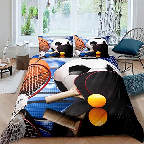 Castle Fairy Baloncesto Ropa de cama de baloncesto funda de edredón con estampado 3D de pingpong para hombres, niños, adolescentes, niños, ropa de cama de bola, color naranja,...