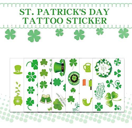 SUSHARE 20 Sheets St. Patrick's Day Temporary Tattoos Stickers Irish Shamrock Patterned Tattoos Clover Four-Leaf Clover tattoo Stickers for St. Patrick's Day and Shamrock Irish Party