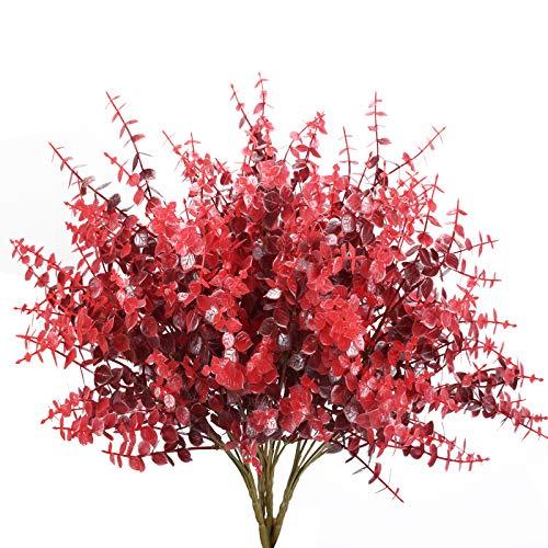 NAHUAA 4 Pz Eucalyptus Artificiale Arbusti Rosso Piante Artificiali da Esterno Interno per Decorazioni Balcone Giardino Cimitero Casa Cucina Ufficio