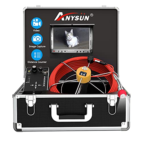 """Sewer Camera, Pipe Inspection Camera with Distance Counter Plumbing Snake Camera DVR Recorder Waterproof IP68, Anysun 100ft / 30M Industrial Pipeline Drain Endoscope with 7"""" LCD Color Monitor"""