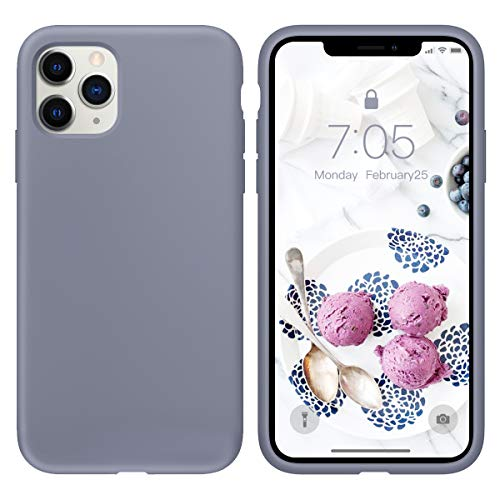 OUXUL Case for iPhone 11 Pro Max 6.5 inch(2019) Liquid Silicone Gel Rubber Phone Case, Full Body Slim Soft Microfiber Lining Cushion Shockproof Protective Case iPhone 11 Pro MaxLavender Gray