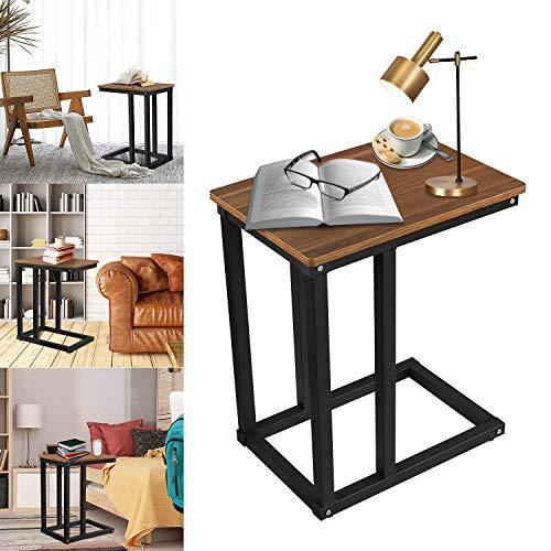 Froadp Beistelltische Kaffeetisch mit Walnuss Tischplatte und Anthrazit Metallhalterung Mobiler Couchtisch Sofatisch Nachttisch Betttisch Laptoptisch Tragfähigkeit bis 25kg für Wohnzimmer Büro
