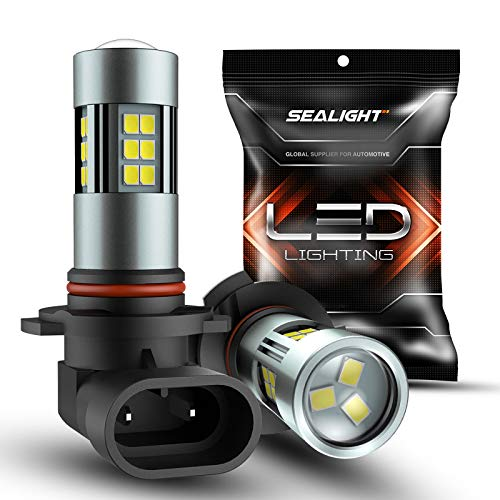 SEALIGHT H10/9145/9140/9045/9040 LED Fog Light Bulbs, 6000K Xenon White, 27 SMD Chips, 360-degree Illumination, Non-Polarity, Pack of 2
